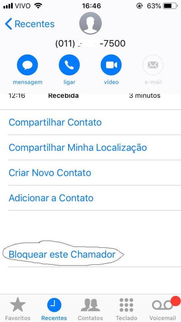 bloquear contato no iPhone